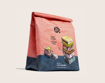"""Insulated Lunch Bag Tyvek  """"Keep Calm it's Lunch Time""""/ YPB-5 / bags and purses/ accessories/ paper bag/ snack bag/ reusable/ kids bag/ gift"""