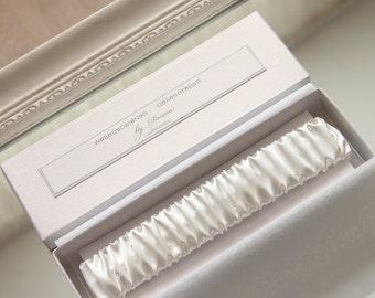 white wedding garter, white silk wedding garter, white silk garter, white bridal garter, white atlas garter with diamante, customize colors