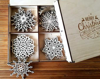 Wooden Snowflake Ornaments, Wood Christmas Decoration, Snowflakes, Christmas tree ornaments, Christmas Gift, Christmas Ornament, Set of 8-24