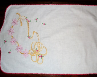 FOUR)  Vintage Table Runner.   Vintage Dresser Scarf.  Embroidered Pinks and Yellows.