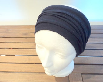 Extra wide headband. Hair accessory. Navy blue color.  Stretch fabric. Workout and yoga headband.