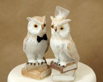 Owl wedding cake topper, owl with books wedding cake topper, handmade owl wedding cake topper, library owl wedding cake topper,