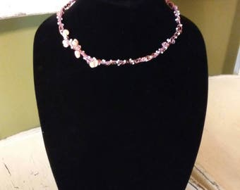 Sea Shell Faerie Dust Necklace with Pink Swarovski Crystals.
