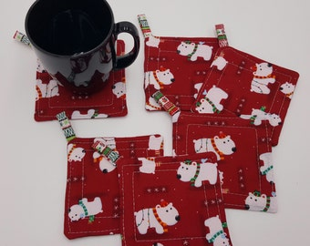 Jolly Good Dog Quilted Coasters/Ornaments - Set of 6 and Free Shipping!
