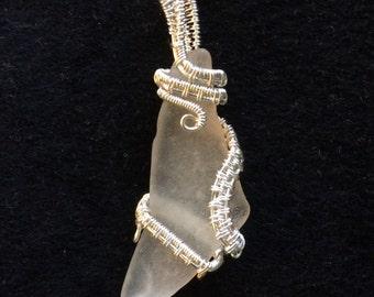 White Maine sea glass pendant