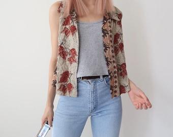 Cute Vintage 90s Cotton  Floral Print Button Up Vest