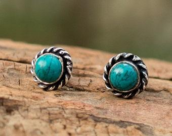 Turquoise Stud Earrings // Turquoise Earrings // Silver Plated Turquoise Ear Studs // Gemstone Earrings // Turquoise Post Earrings