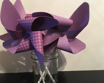 Pinwheels, Party Pinwheels, Paper Pinwheels, Party Decorations, Party decor,  Purple Pinwheels, Pinwheel Cake Toppers, Pinwheel Photo Props