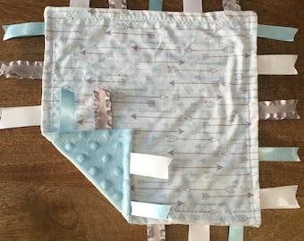 Silver Arrow Minky Baby Tag Blanket //Security Blanket // Ribbon Blanket // Teething Blanket