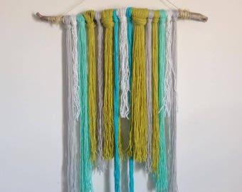Fiber Art Blue and Green Zen Yarn Wall Hanging