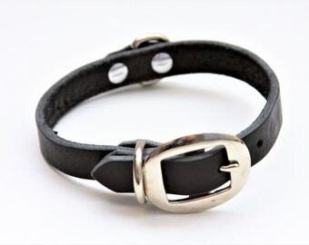 Small Genuine Leather Dog Collar (Black) 15''