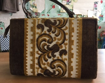 Vintage 1960s 1970s Tapestry Box Purse. brown, gold, filigree, floral, texture.