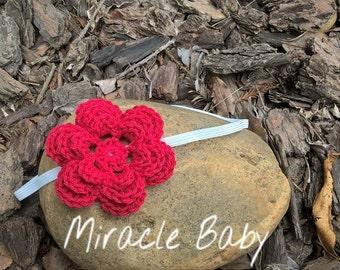 Crochet baby headband, crochet flower headband, newborn headband
