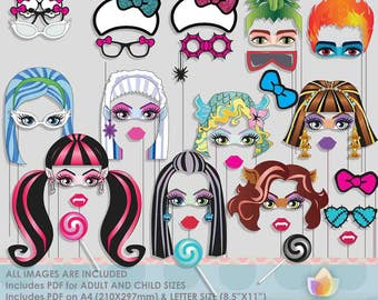 Cute Monster Girls Photo Booth Props for girly party