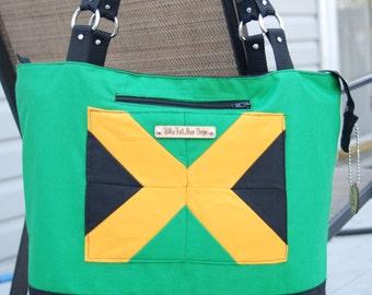 Jamaican Flag Totebag, Zippered Tote, Jamaica, Quilt block Jamaican Flag, Jamaican Handbag, made to order, you design a tote