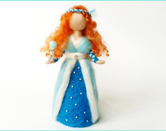 "Decorative Waldorf Doll ""Fairy of ice"" felted wool"