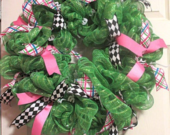 Green Spring Deco  Mesh Wreath with Ribbons