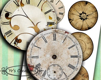 Antique clock faces - Printable Circle Images - vintage clock faces for journaling, mixed media, scrapbooking and paper crafts