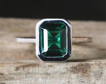 Bezel Ring Emerald Engagement Ring Lab Created 6*8mm Emerald Cut Emerald Ring Bridal Ring Gems Engagement Ring Stackable 14K White Gold Ring