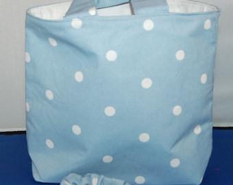 Children's Sky Blue Spot Tote Bag With Pocket & Scrunchie To Match Handmade