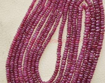 19 Inches Strand, Natural Longido Ruby Rondelles, Longido Ruby Faceted Rondelle Beads, 3-4.50 MM, Loose Gemstone Beads, Ruby Beads