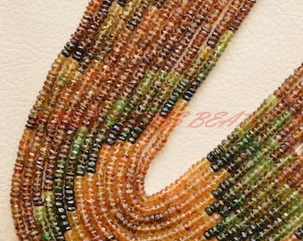 5 Strands, 14 Inch Strand, Natural Petrol Tourmaline Rondelles, Tourmaline Faceted Rondelle Beads, 4 MM Loose Gemstone Roundel Beads