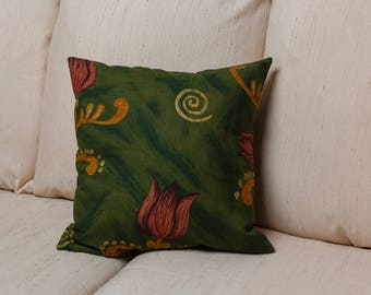 Green Tulip pillow cover