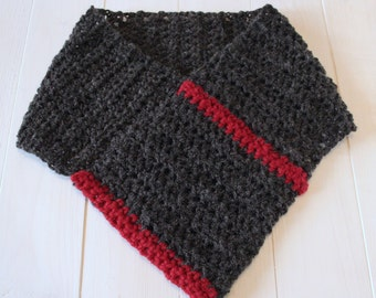 Cowl, Scarf, Womens scarf, Womens cowl, Mens cowl, Mens scarf, Crochet scarf, Neck warmer, Grey and red scarf, Ready to ship,