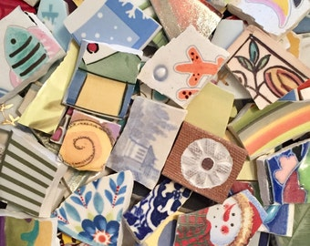 VARIETY MIX mosaic tile mix115 pcs- larger pieces-ceramic and china broken plate- pique assiette-id*103
