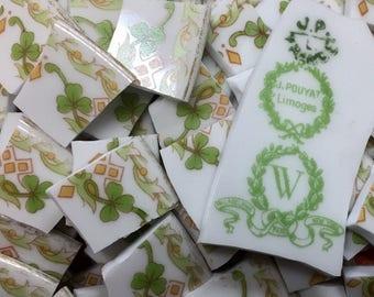 VINTAGE LIMOGE GREEN mosaic tiles-160 pcs-handcut broken plate-piqueassiette -id*903
