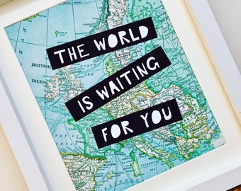 Travel Map Print, Wanderlust, Europe Map, The World Is Waiting For You, Wall Art, Backpacker gift, Travel Gift, Baby First Birthday