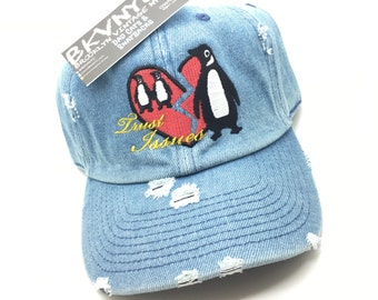 Denim Distressed Penguin Trust Issues Dad Cap Hat