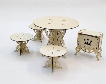 Living room Dollhouse / Doll furniture / Table Dollhouse / Doll Living room / Doll Chair / Chair for Barbie / Miniature Living room