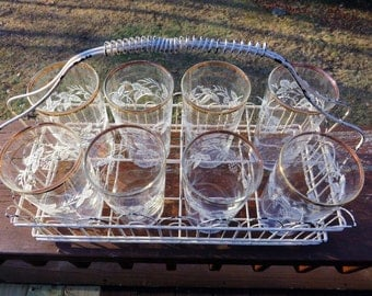 Vintage Metal Glass Carrier Tray with 8 Juice Glasses Frosted Floral Design