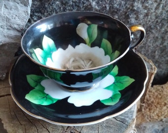 Black Teacup Set | Cabbage Rose Tea Cup and Saucer Set, Made in Japan, Mother's Day Gift, Teacup Collections, Gift for Mom
