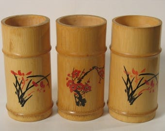 Set of 3 small pots in bamboo hand-painted