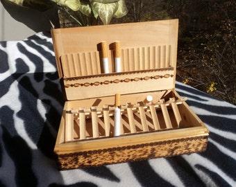 Vintage cigarette box Cigarette holder Cigarette case Tobacco box Cigarette tin Wood cigarettes box Cigarettes organizer Gift for smokers