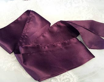 "Satin FABRIC Sash Belt (Not Ribbon), PLUM, 2.5"" x 108"", Reversible Satin Band, Only ONE is Available"