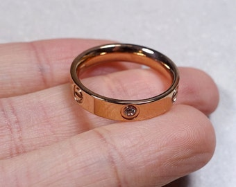 Simple Rose Gold Ring Band with Zircons - Super Comfortable on the finger
