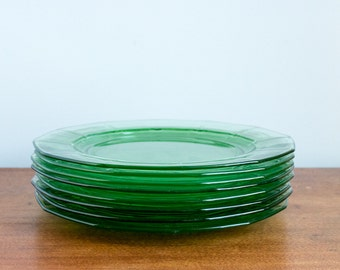 4 Vintage Green Colored Glass Dinner Plates, Bohemain Grass Green Plates, Saint Patricks Day Party