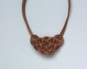 necklace - knot pendent - leather ropes - complex knot - natural leather, copper