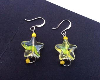 Clear and Yellow Star Earrings