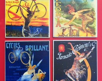 French Bicycle Posters, Cyclist Gift, Coasters, Bicycle Coasters, Bike Posters, Decorative Tiles, French Bicycle Art, Drink Coasters