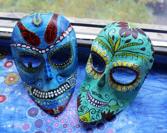 Mexican Tribal Mask (1 pc, two variations of color - Blue base and Mint Base)