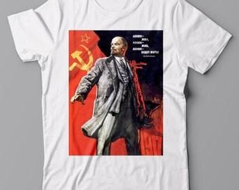 Funny T-shirt LENIN ALIVE, Russian, Soviet propaganda poster, anti alcohol, communist WWII, Putin hacker vodka