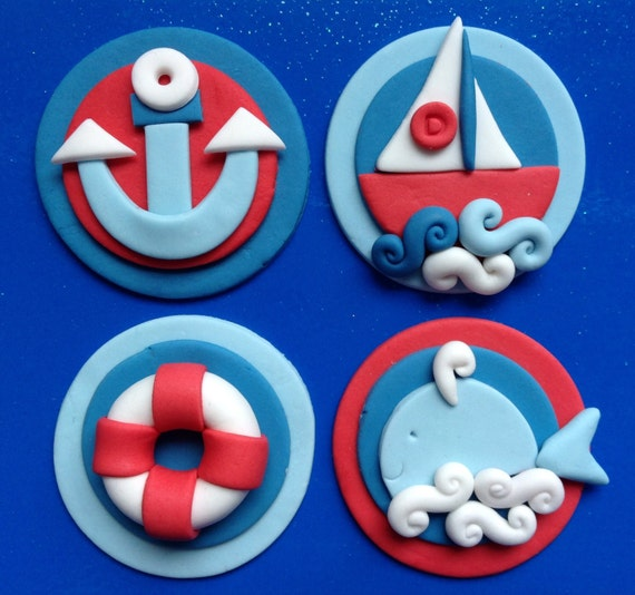 12 Edible NAUTICAL Boat Whale Anchor Toppers. Birthday cake