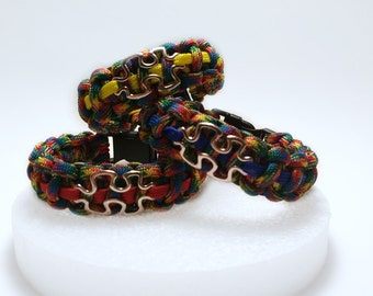 Multi-Colored Autism Awareness Paracord Bracelet Puzzle Charm Adjustable or Buckle Closure
