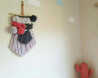 Fluffy weave made with hand dyed wool roving- pompoms tassels - kids room style - interior decor