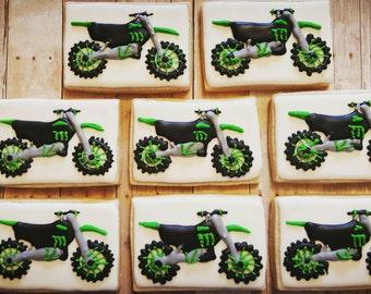 Dirt bikes Motocross decorated sugar cookie collection - One Dozen