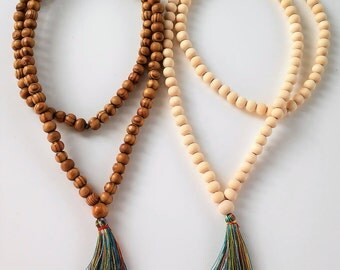 Mala Necklace - 108 + 1 wooden beads Mala Necklace - Meditation Necklace - Collar para meditación - Beaded Necklace - tassel necklace -